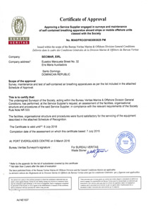 Certificate of Approval BV SCBA and EEBD